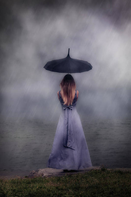Girl Art Print featuring the photograph Black Umbrella by Joana Kruse