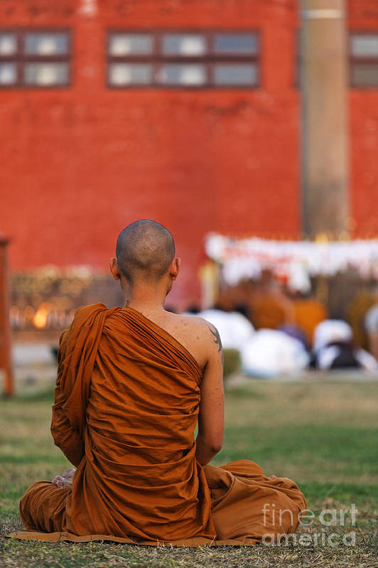 Buddhist Print featuring the photograph Buddhist Monk At Lumbini In Nepal by Robert Preston