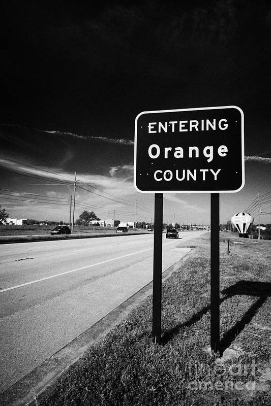 Entering Art Print featuring the photograph Entering Orange County On The Us 192 Highway Near Orlando Florida Usa by Joe Fox