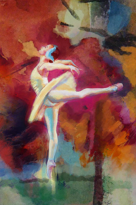 Jazz Art Print featuring the painting Flamenco Dancer by Catf
