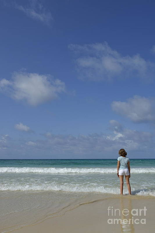 People Art Print featuring the photograph Girl Contemplating Ocean From Beach by Sami Sarkis