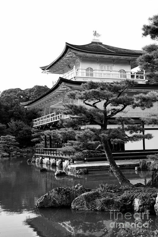 Black And White Art Print featuring the photograph Golden Pagoda In Kyoto Japan by David Smith