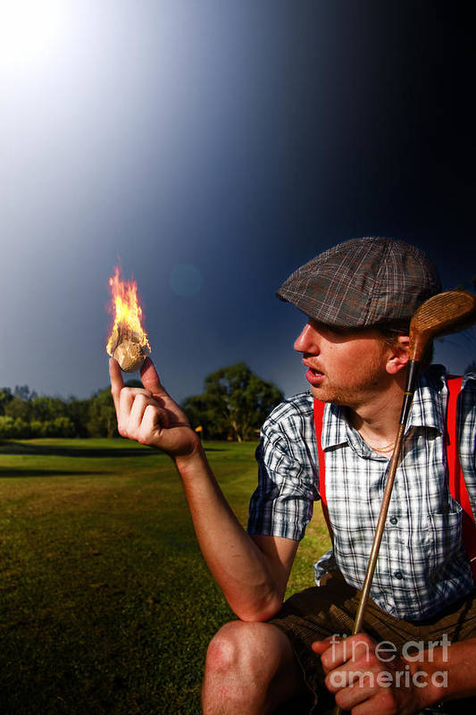 Aucasian Art Print featuring the photograph Golf Ball Flames by Jorgo Photography - Wall Art Gallery