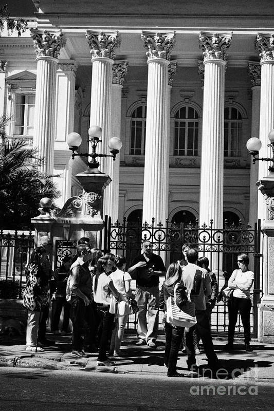 Former Print featuring the photograph guided tour group outside the former national congress building Santiago Chile by Joe Fox