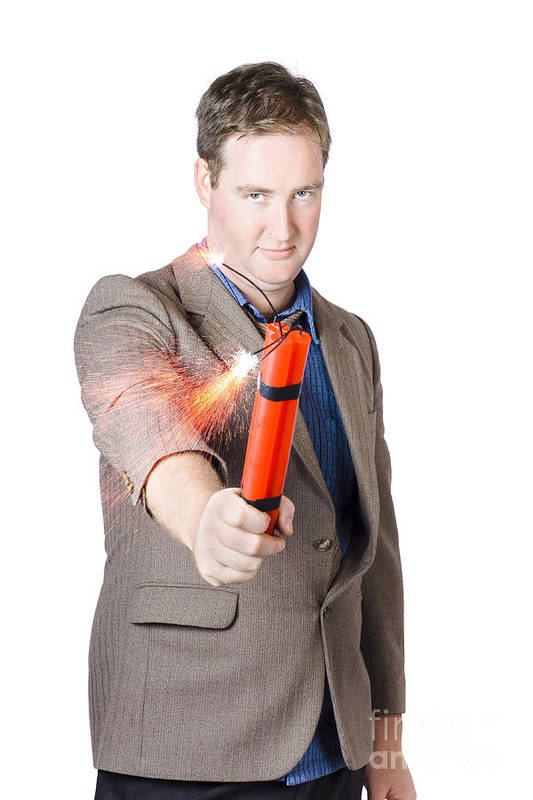 Crisis Art Print featuring the photograph Hostile Male Office Worker Holding Flaming Bomb by Jorgo Photography - Wall Art Gallery