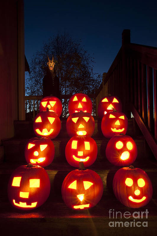 31st Art Print featuring the photograph Lit Pumpkins With Demon On Halloween by Jim Corwin