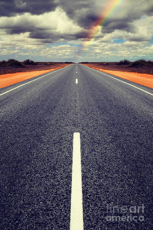 Road Art Print featuring the photograph Long Straight Road With Gathering Storm Clouds by Colin and Linda McKie