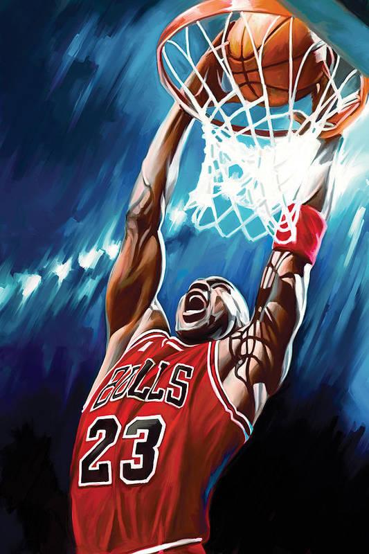 Nba Art Print featuring the painting Michael Jordan Artwork by Sheraz A
