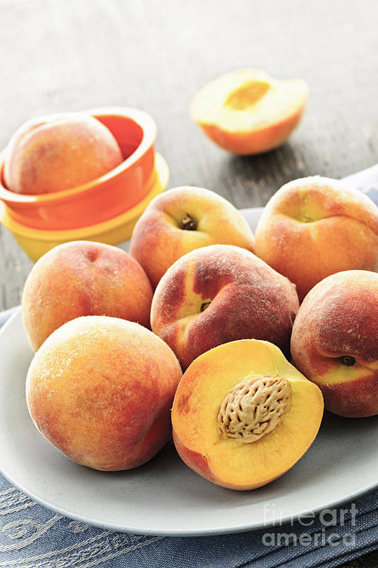 Peaches Print featuring the photograph Peaches On Plate by Elena Elisseeva