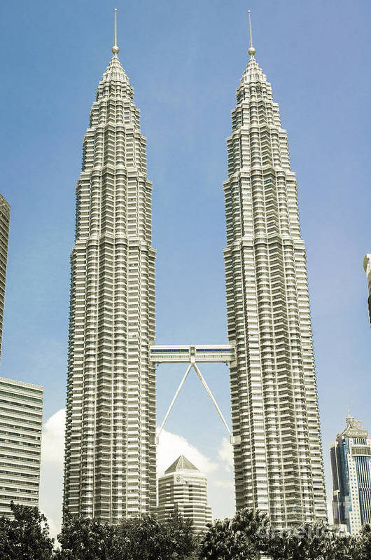Petronas Art Print featuring the photograph Petronas Twin Towers In Malaysia by Tuimages