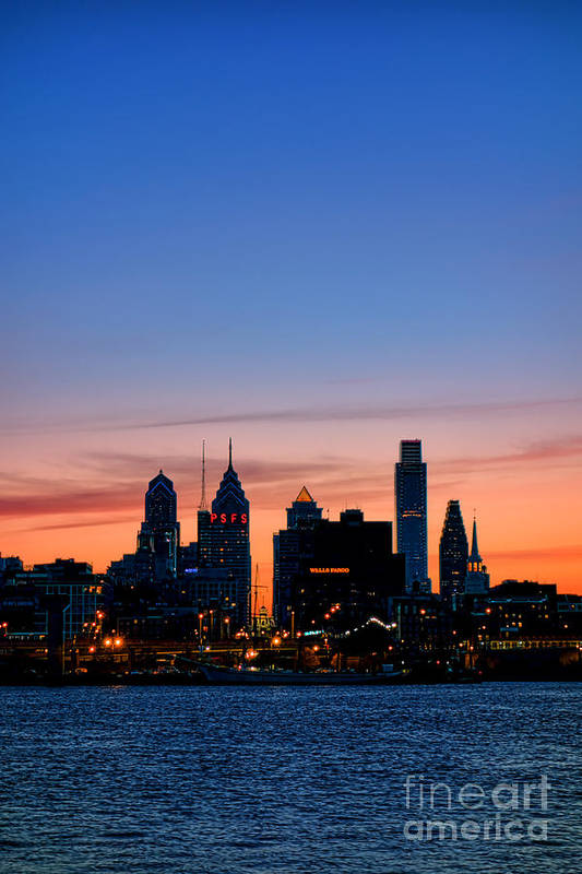 Old Art Print featuring the photograph Philadelphia Dusk by Olivier Le Queinec