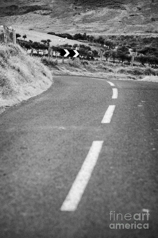 Northern Art Print featuring the photograph Small Narrow Country Road Leading To Dangerous Bend In County Antrim Northern Ireland by Joe Fox