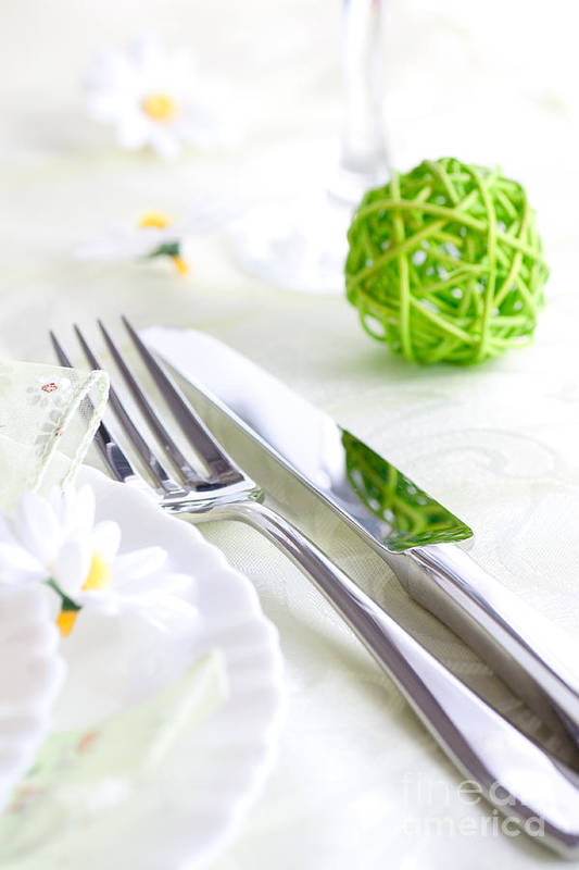 Arrangement Print featuring the photograph Spring Table Setting by Mythja Photography