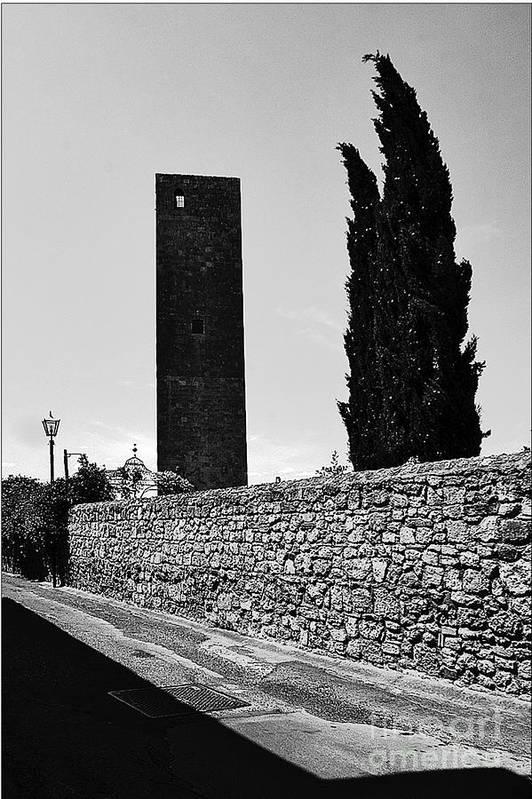 Tarquinia Art Print featuring the photograph Tarquinia Muro Di Cinta Cipressi Torre Lampione by Giuseppe Cocco