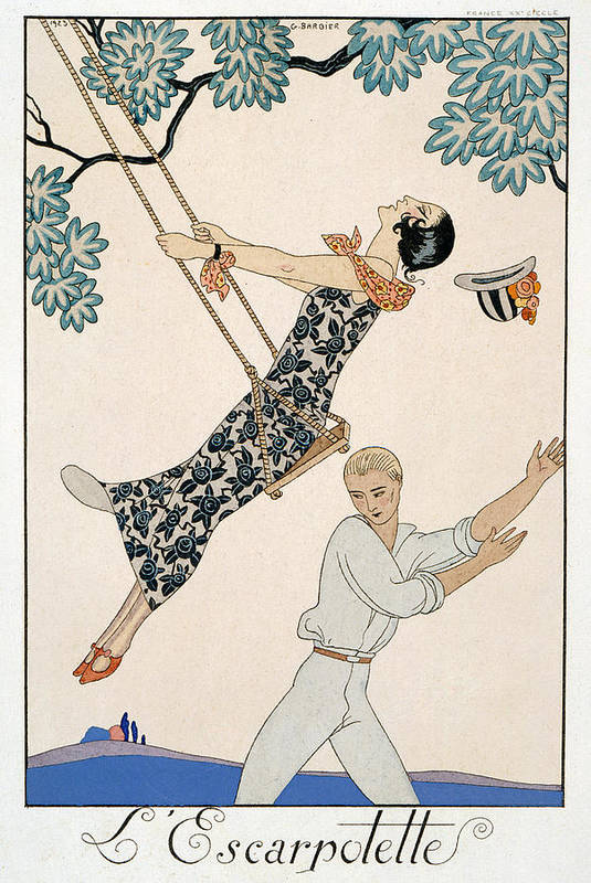 L'escarpolette Print featuring the painting The Swing by Georges Barbier