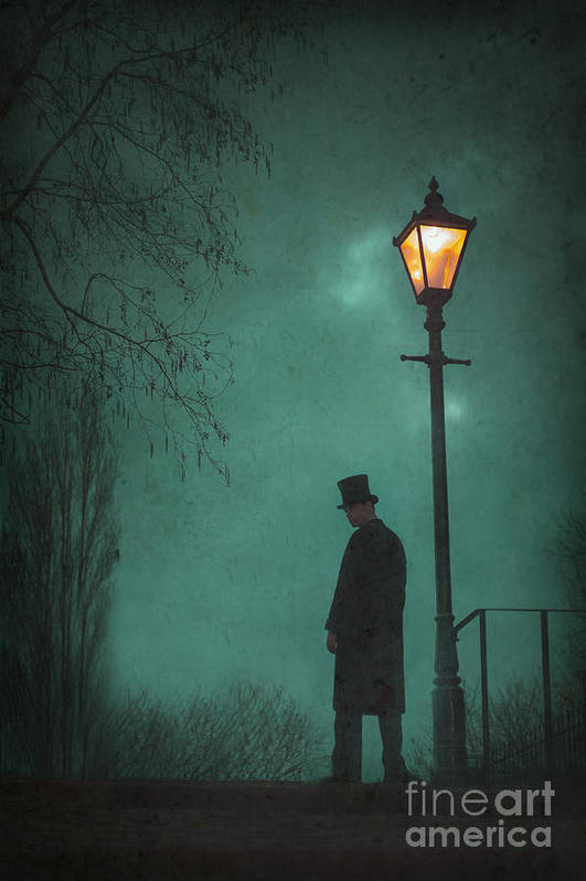 Victorian Print featuring the photograph Victorian Man Standing Next To An Illuminated Gas Lamp by Lee Avison