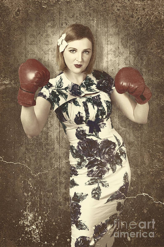 Vintage Boxing Pinup Poster Girl Retro Fight Club Art