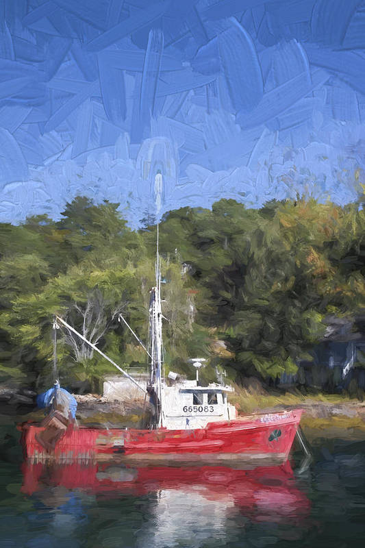 Fishing Art Print featuring the photograph York Harbor Maine Painterly Effect by Carol Leigh