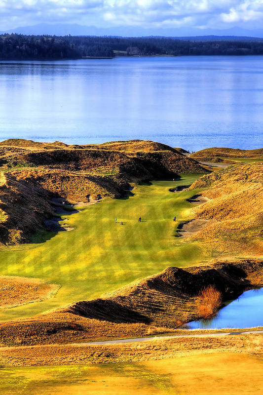 Chambers Bay Golf Course Art Print featuring the photograph 10th Hole At Chambers Bay by David Patterson