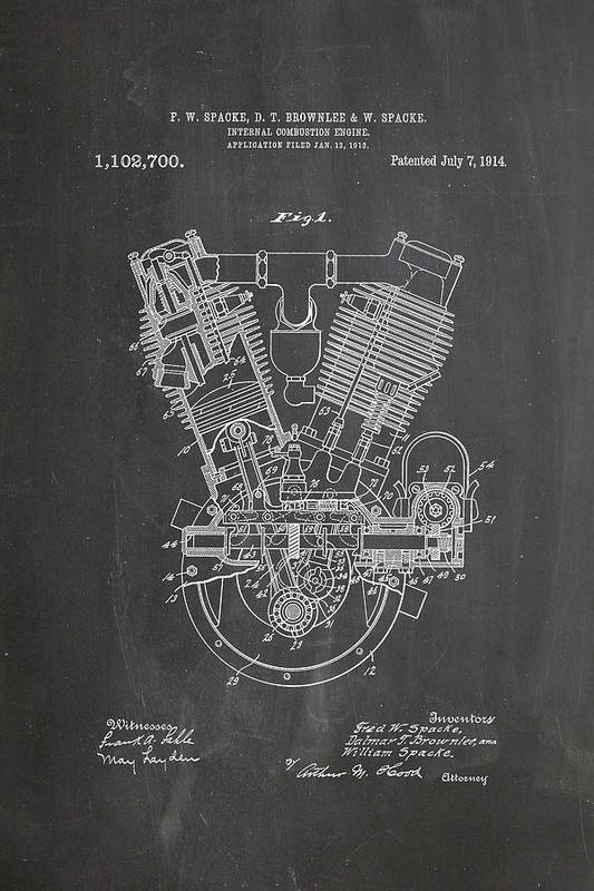 1914 engine patent art chalkboard art print by industrial prints patent art print featuring the digital art 1914 engine patent art chalkboard by industrial prints malvernweather Image collections