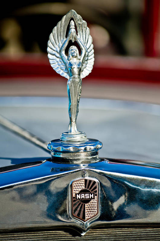 1928 Nash Coupe Art Print featuring the photograph 1928 Nash Coupe Hood Ornament 2 by Jill Reger