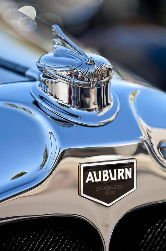 1929 Auburn 8-90 Speedster Art Print featuring the photograph 1929 Auburn 8-90 Speedster Hood Ornament by Jill Reger