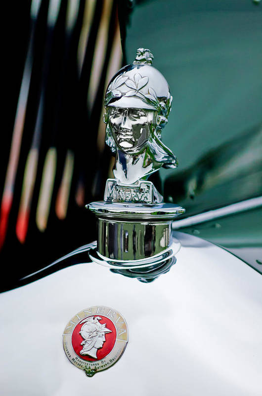 1929 Minerva Type Am Murphy Convertible Sedan Art Print featuring the photograph 1929 Minerva Hood Ornament by Jill Reger