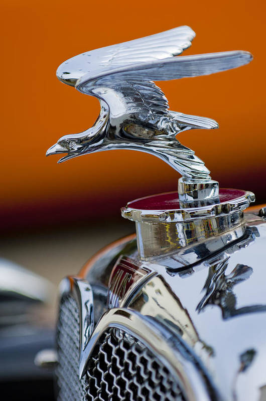 1932 Alvis Speed 20 Print featuring the photograph 1932 Alvis Hood Ornament 2 by Jill Reger