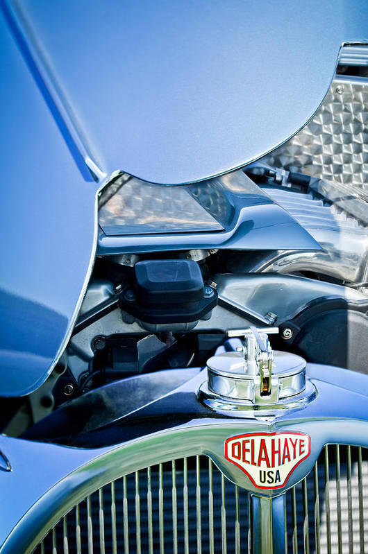 1937 Delahaye 115a Art Print featuring the photograph 1937 Delahaye 115a Engine by Jill Reger