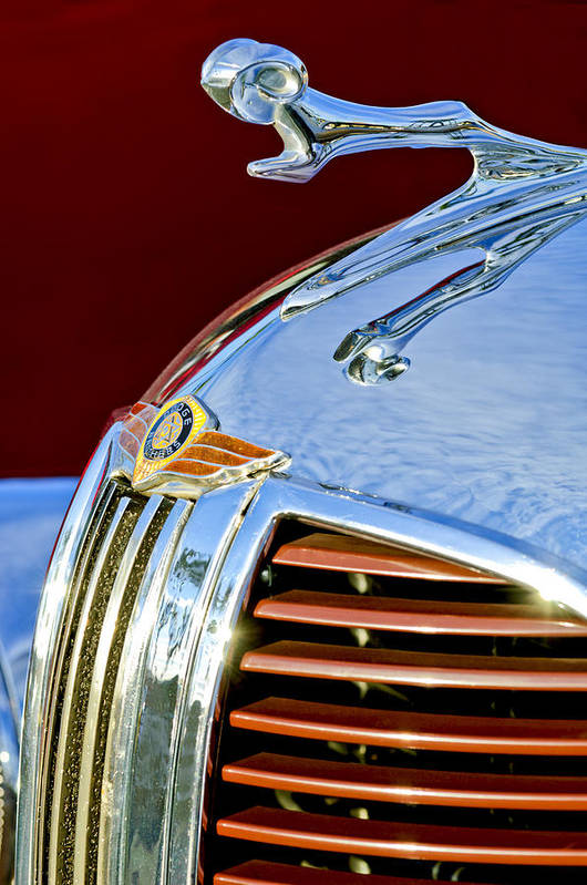 1938 Dodge Ram Art Print featuring the photograph 1938 Dodge Ram Hood Ornament 3 by Jill Reger
