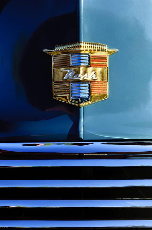 1947 Nash Suburban Art Print featuring the photograph 1947 Nash Surburban Hood Ornament by Jill Reger