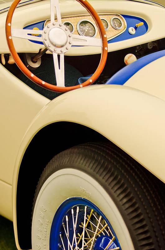 1950 Eddie Rochester Anderson Emil Diedt Roadster Print featuring the photograph 1950 Eddie Rochester Anderson Emil Diedt Roadster Steering Wheel by Jill Reger