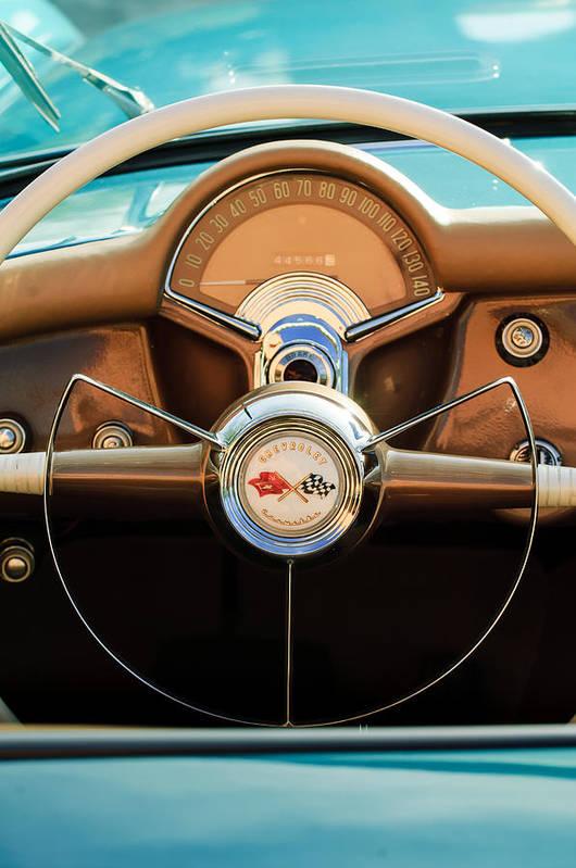 1954 Chevrolet Corvette Convertible Art Print featuring the photograph 1954 Chevrolet Corvette Convertible Steering Wheel by Jill Reger
