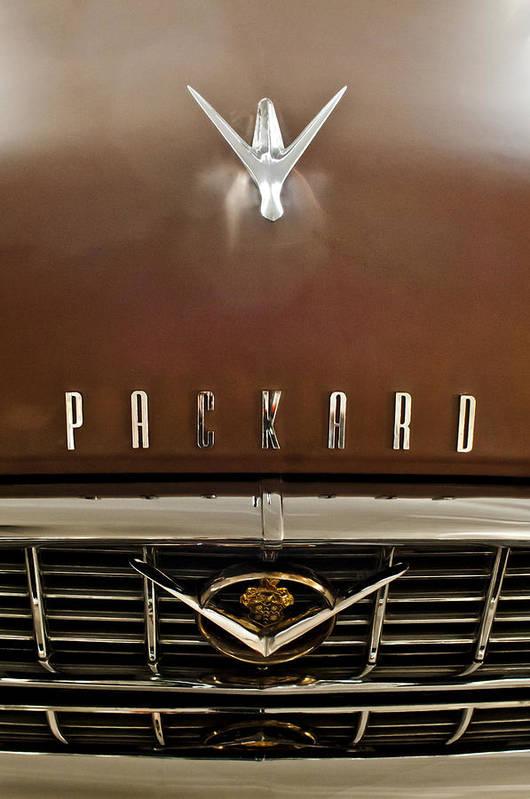 1955 Packard 400 Art Print featuring the photograph 1955 Packard 400 Hood Ornament by Jill Reger