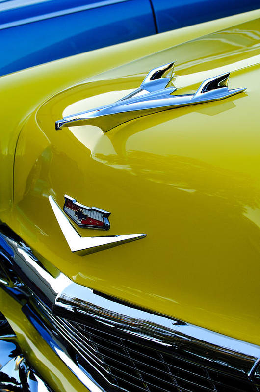1956 Chevrolet Print featuring the photograph 1956 Chevrolet Hood Ornament 3 by Jill Reger
