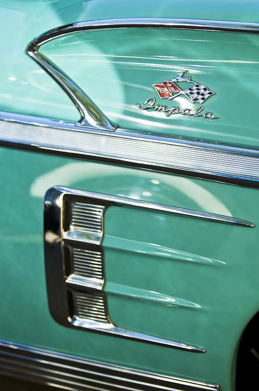 1958 Chevrolet Impala Art Print featuring the photograph 1958 Chevrolet Impala Emblem by Jill Reger