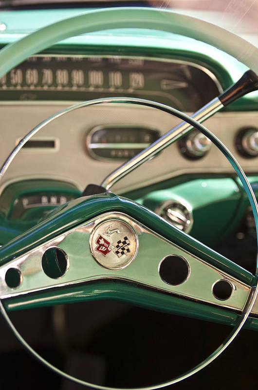 1958 Chevrolet Impala Art Print featuring the photograph 1958 Chevrolet Impala Steering Wheel by Jill Reger