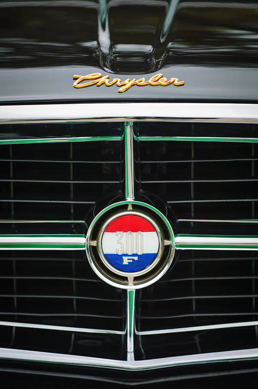 1960 Chrysler 300f Convertible Grille Emblem Art Print featuring the photograph 1960 Chrysler 300f Convertible Grille Emblem by Jill Reger