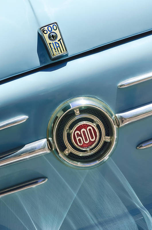1960 Fiat 600 Jolly Emblem Art Print featuring the photograph 1960 Fiat 600 Jolly Emblem by Jill Reger
