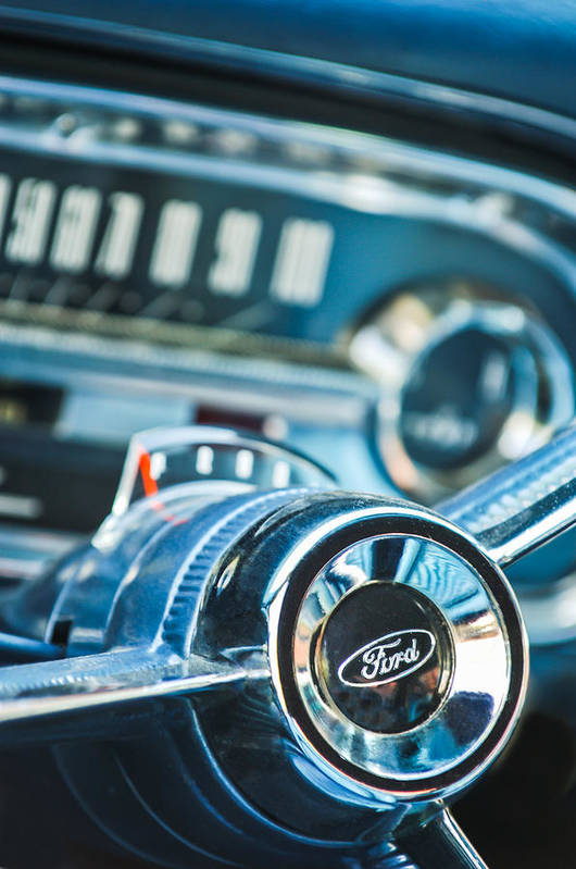 1963 Ford Falcon Futura Convertible Steering Wheel Emblem Print featuring the photograph 1963 Ford Falcon Futura Convertible Steering Wheel Emblem by Jill Reger