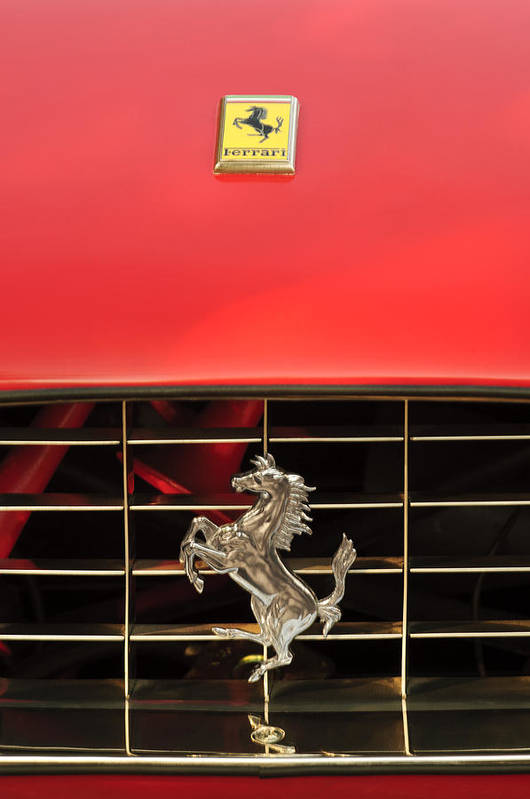 1966 Ferrari 330 Gtc Coupe Art Print featuring the photograph 1966 Ferrari 330 Gtc Coupe Hood Ornament by Jill Reger