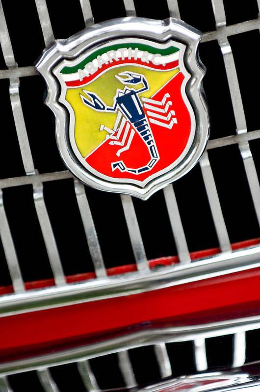 1967 Fiat Abarth 1000 Otr Art Print featuring the photograph 1967 Fiat Abarth 1000 Otr Emblem by Jill Reger
