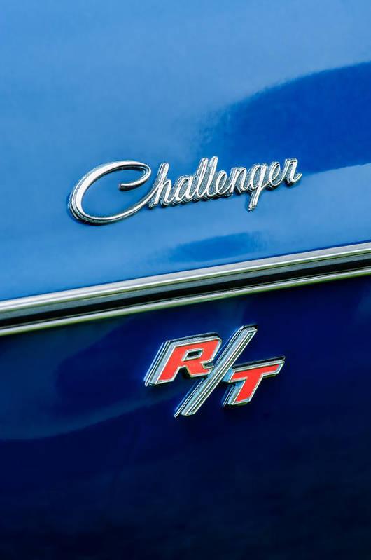 1970 Dodge Challenger Rt Convertible Emblem Art Print featuring the photograph 1970 Dodge Challenger Rt Convertible Emblem by Jill Reger
