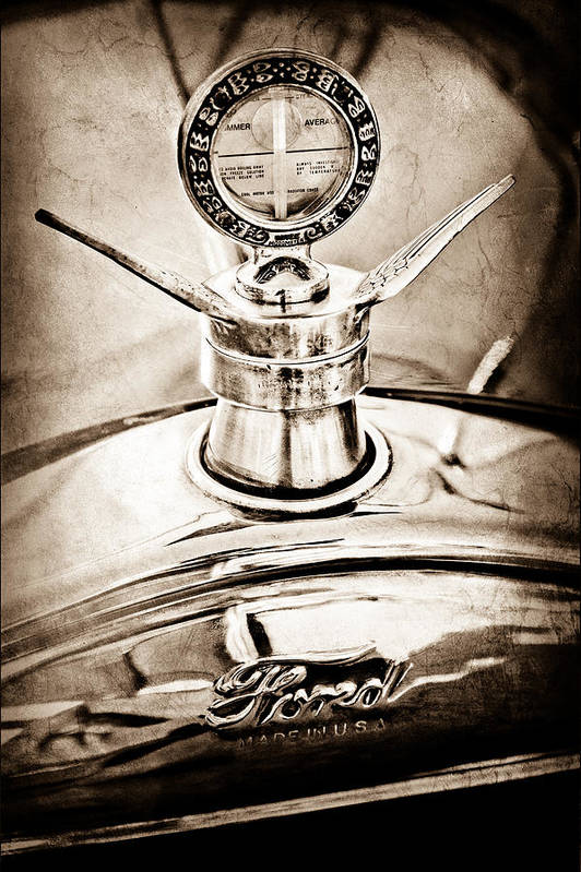 1923 Ford Model T Hood Ornament Art Print featuring the photograph 1923 Ford Model T Hood Ornament by Jill Reger