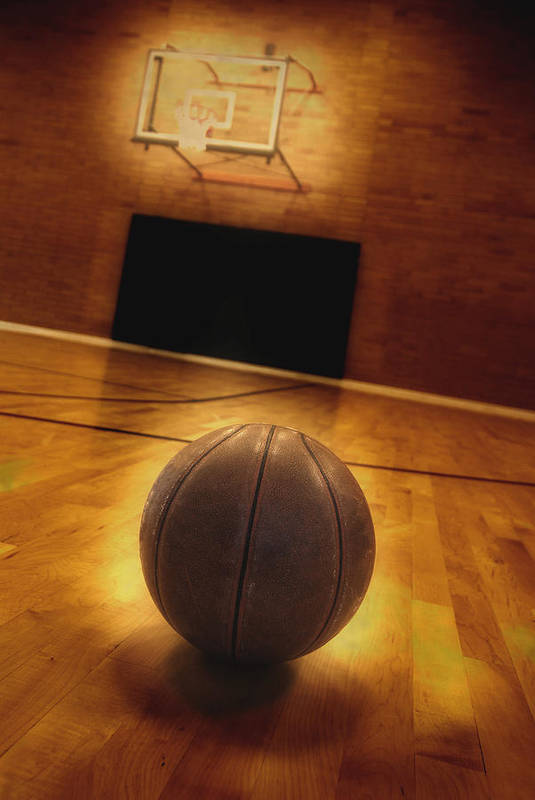 In Art Print featuring the photograph Basketball And Basketball Court by Lane Erickson