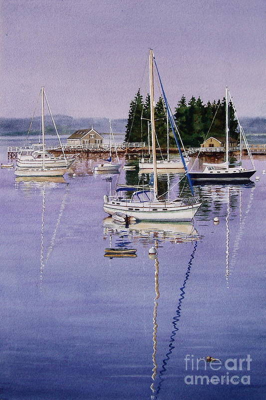 Water Art Print featuring the painting Boothbay Harbor by Karol Wyckoff