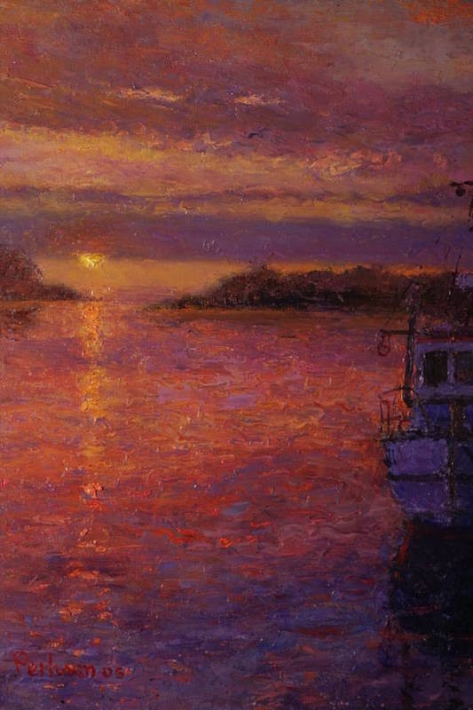 Sunrise Art Print featuring the painting Daybreak Riverton by Terry Perham