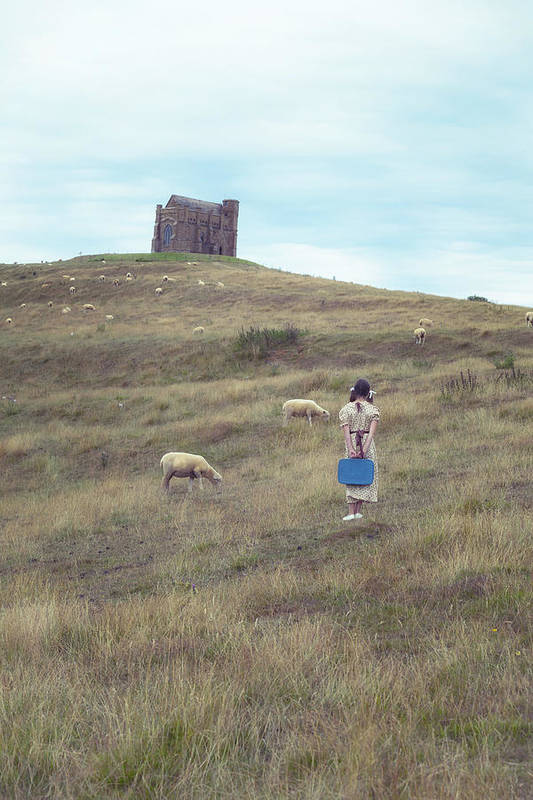 Girl Art Print featuring the photograph Girl With Sheeps by Joana Kruse