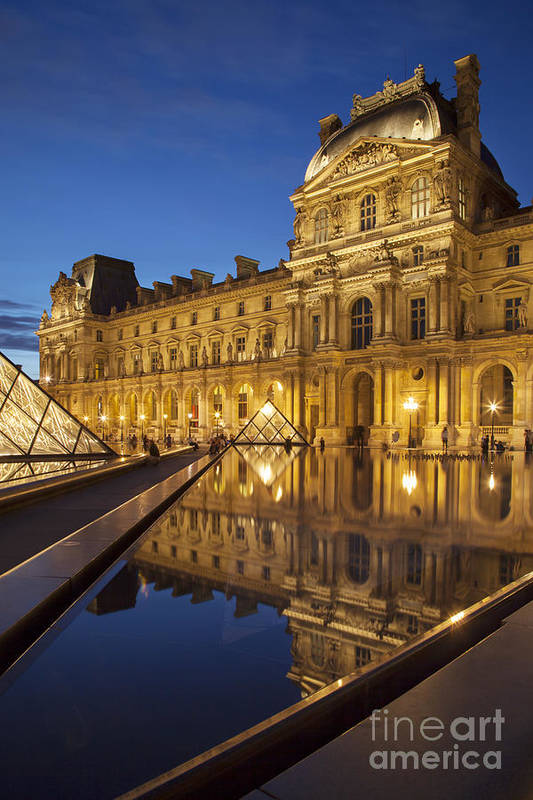Architectural Art Print featuring the photograph Louvre Reflections by Brian Jannsen