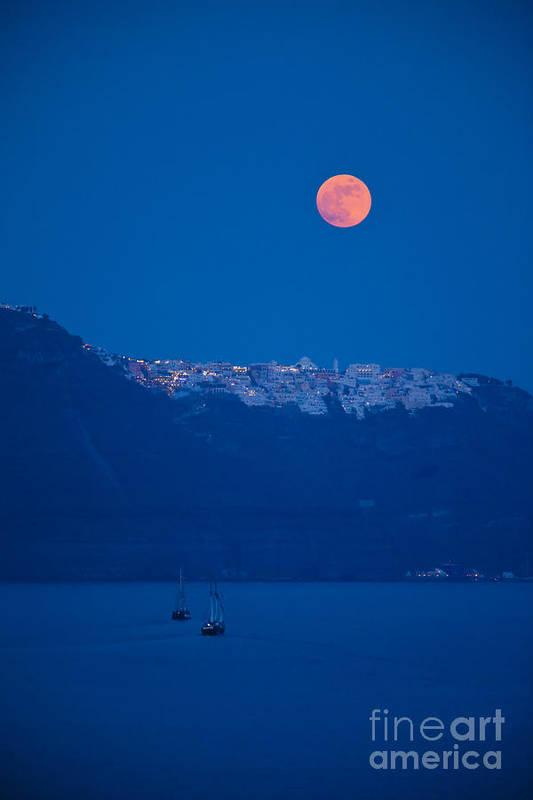 Full Moon Art Print featuring the photograph Moon Over Santorini by Brian Jannsen